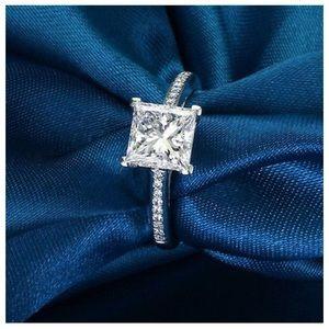 Princess Cut 925 Silver 0.76Ct Engagement CZ Ring